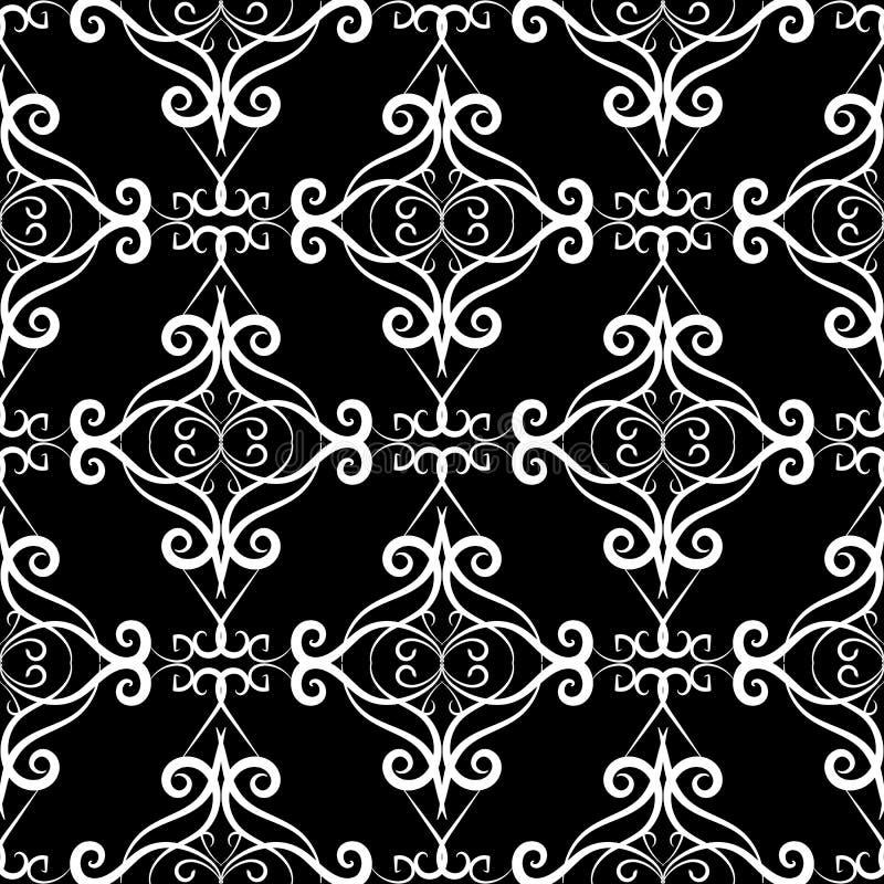 Картина винтажного черно-белого флористического вектора безшовная Рука dra иллюстрация штока