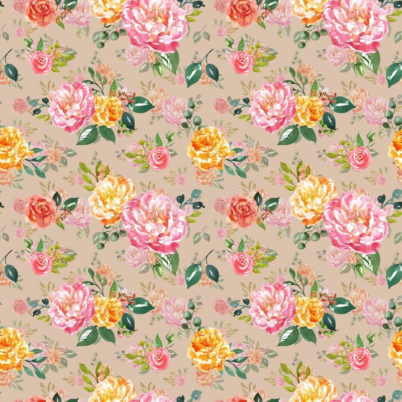 Картина винтажного watercolour флористическая безшовная Рука покрасила пинк и желтые цветки на теплой бежевой предпосылке Ботанич иллюстрация штока