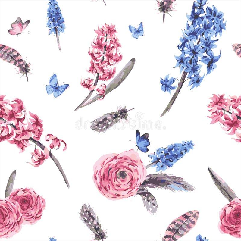Картина винтажной весны безшовная с зацветать цветет букет бесплатная иллюстрация