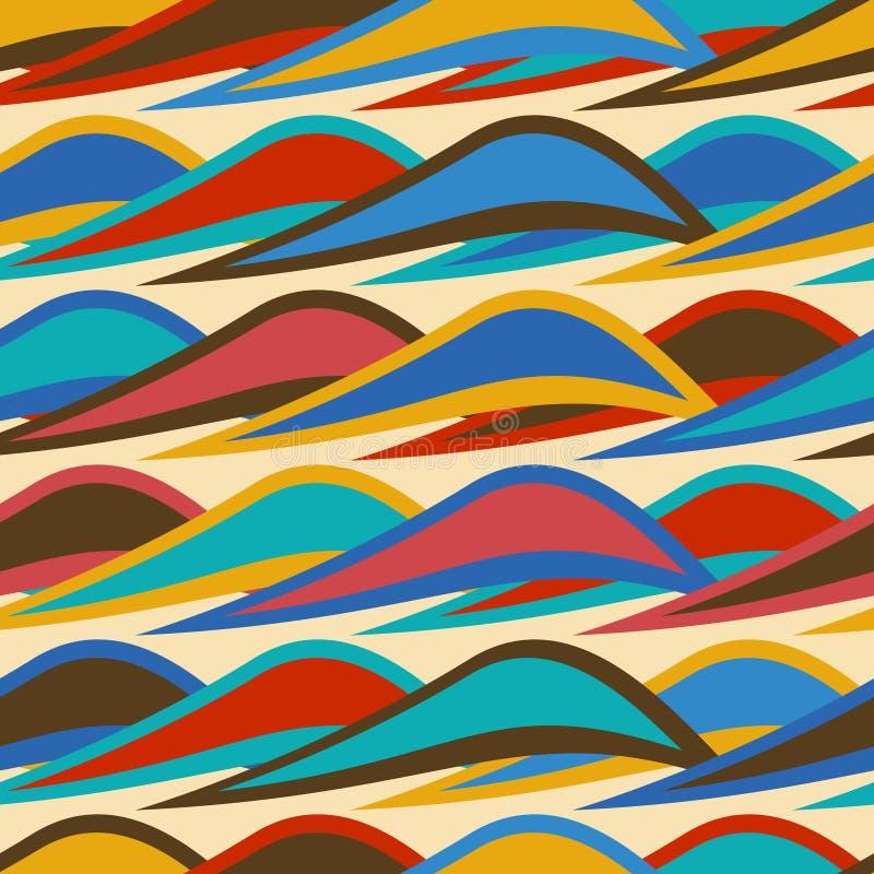 Картина винтажной предпосылки безшовная с красочными волнами бесплатная иллюстрация