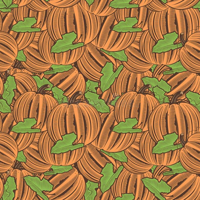 Картина винтажной тыквы безшовная бесплатная иллюстрация