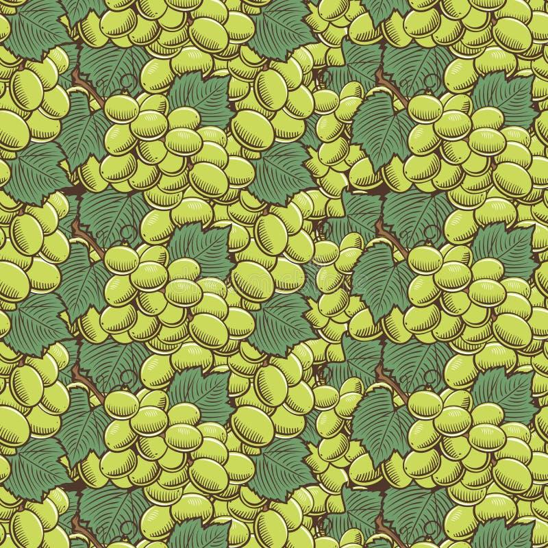 Картина винтажных зеленых виноградин безшовная бесплатная иллюстрация