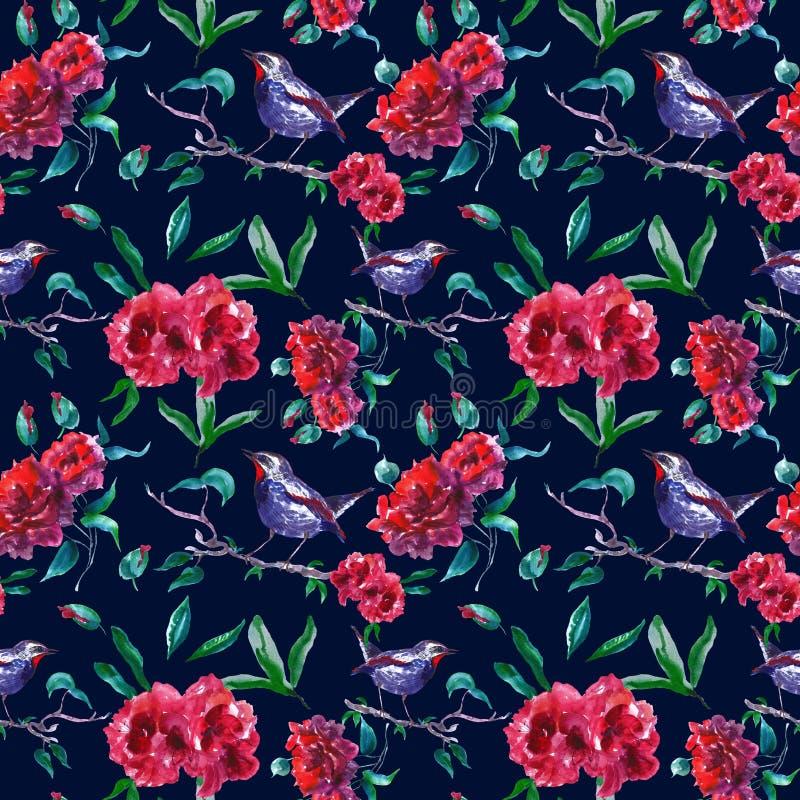 Картина винтажных красных роз безшовная с птицей на ветви дерева Печать сада конспекта флористическая на темной предпосылке для о иллюстрация штока