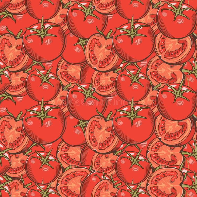 Картина винтажных красных томатов безшовная бесплатная иллюстрация