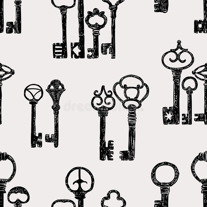 Картина винтажных ключей иллюстрация штока