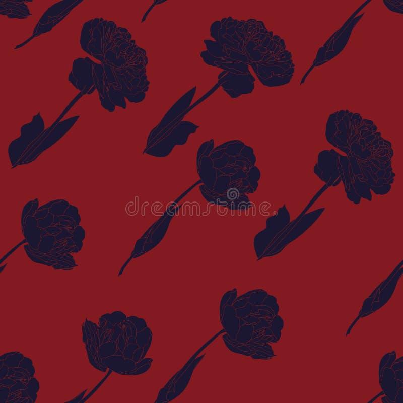 Картина винтажных тюльпанов безшовная в ультрамодных голубых и красных цветах иллюстрация вектора