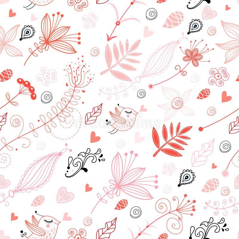 картина влюбленности птиц флористическая безшовная иллюстрация штока