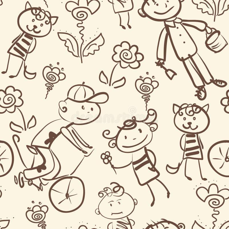 Картина внешнего воссоздания активного ребенк monochrome безшовная бесплатная иллюстрация