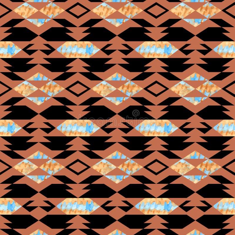 Картина воодушевленности ткани Навахо ацтекская американский индийский уроженец иллюстрация вектора