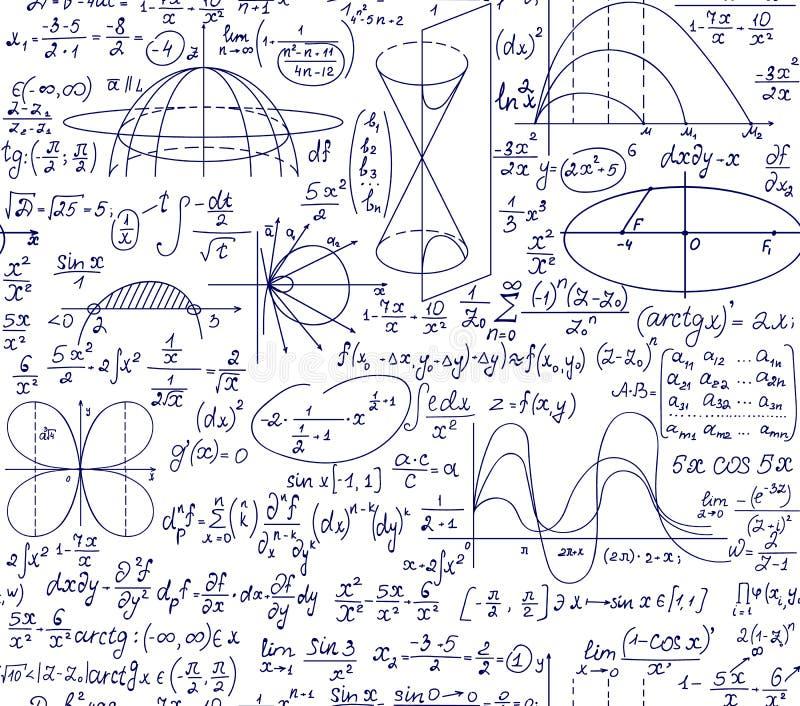 Картина воспитательного научного вектора математики безшовная с рукописными диаграммами, вычислениями и уравнениями бесплатная иллюстрация