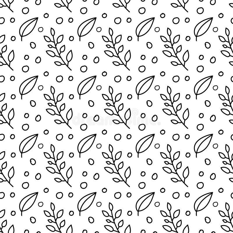 Картина вычерченного вектора руки безшовная с флористическими элементами Картина вектора с листьями, хворостинами r иллюстрация вектора