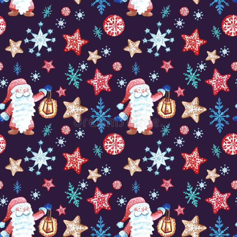 Картина вычерченного праздничного рождества руки безшовная в scandivanian стиле с гномом, снежинки и печенья пряника орнаментирую бесплатная иллюстрация