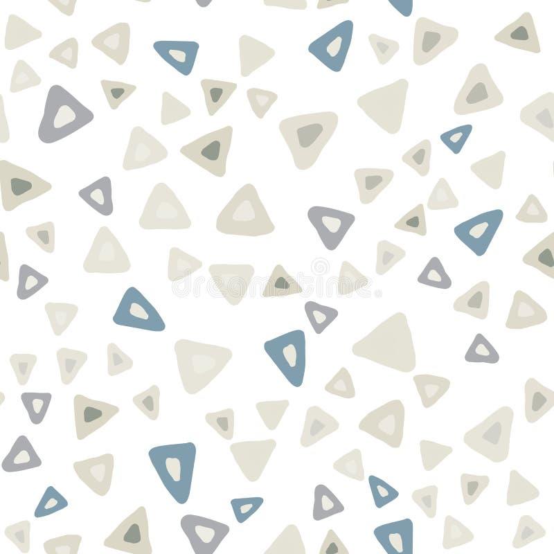 Картина вычерченного простого треугольника руки безшовная на белой предпосылке иллюстрация вектора