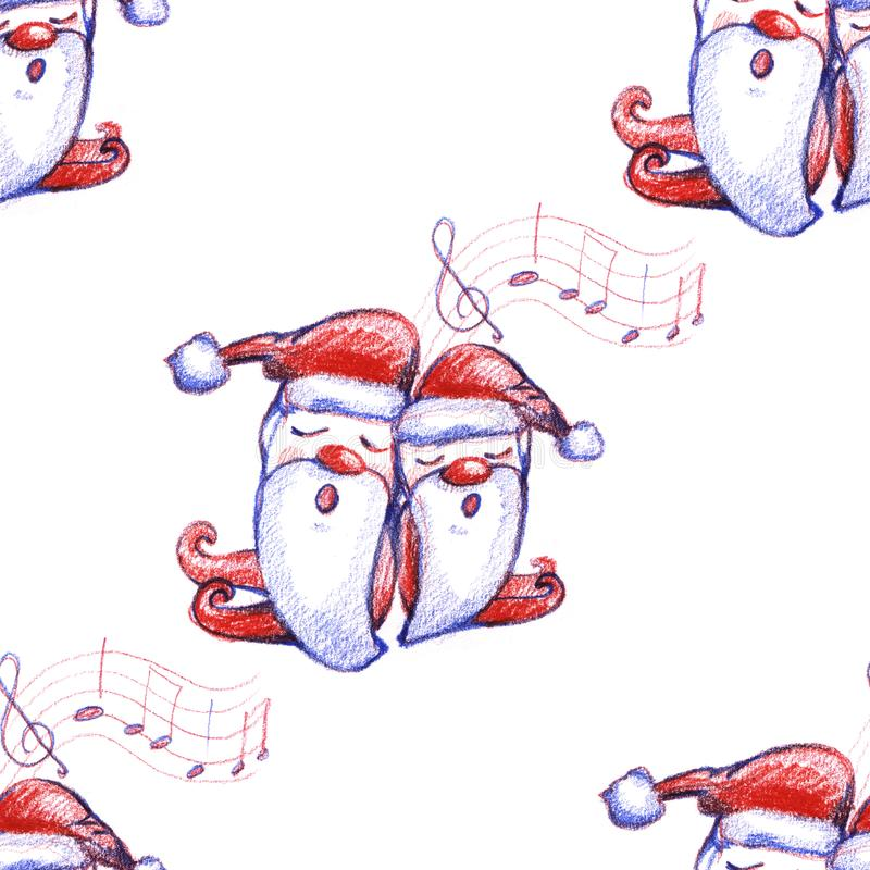 Картина вычерченного рождества руки акварели безшовная с рождеством петь воспевает карлики на белой предпосылке иллюстрация штока