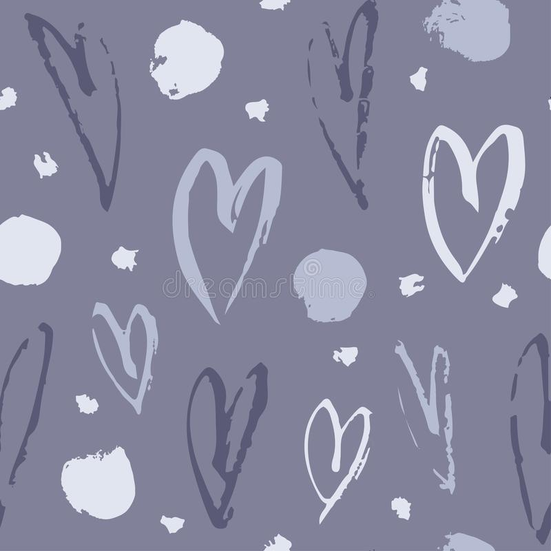Картина вычерченной краски руки безшовная Предпосылка сердец Абстрактный чертеж щетки Иллюстрация искусства вектора Grunge иллюстрация вектора