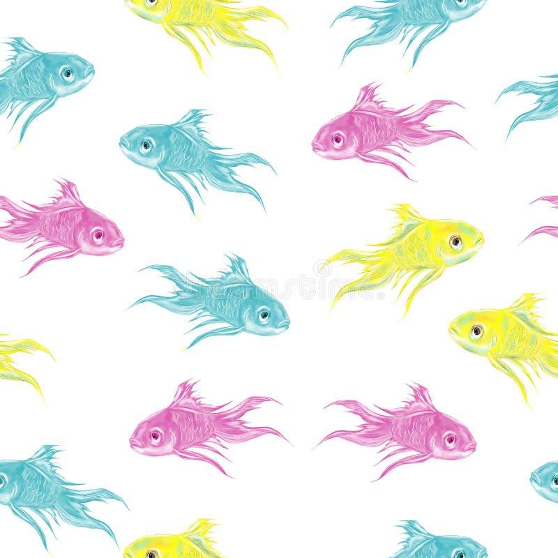 Картина вычерченных красочных рыб руки акварели безшовная иллюстрация штока