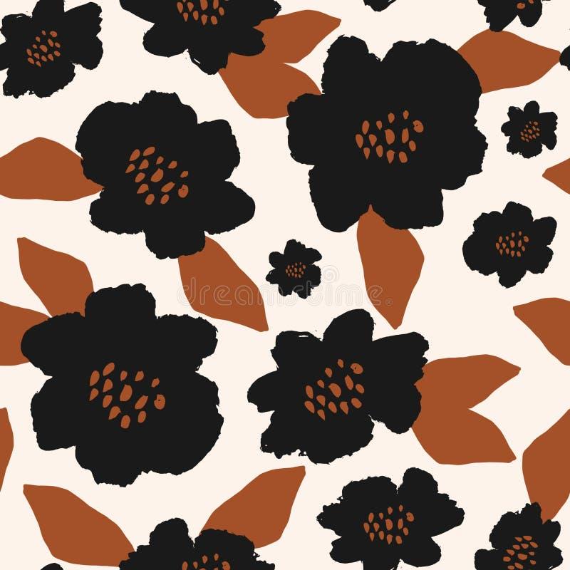 Картина вычерченных смелых черных цветений руки безшовная бесплатная иллюстрация