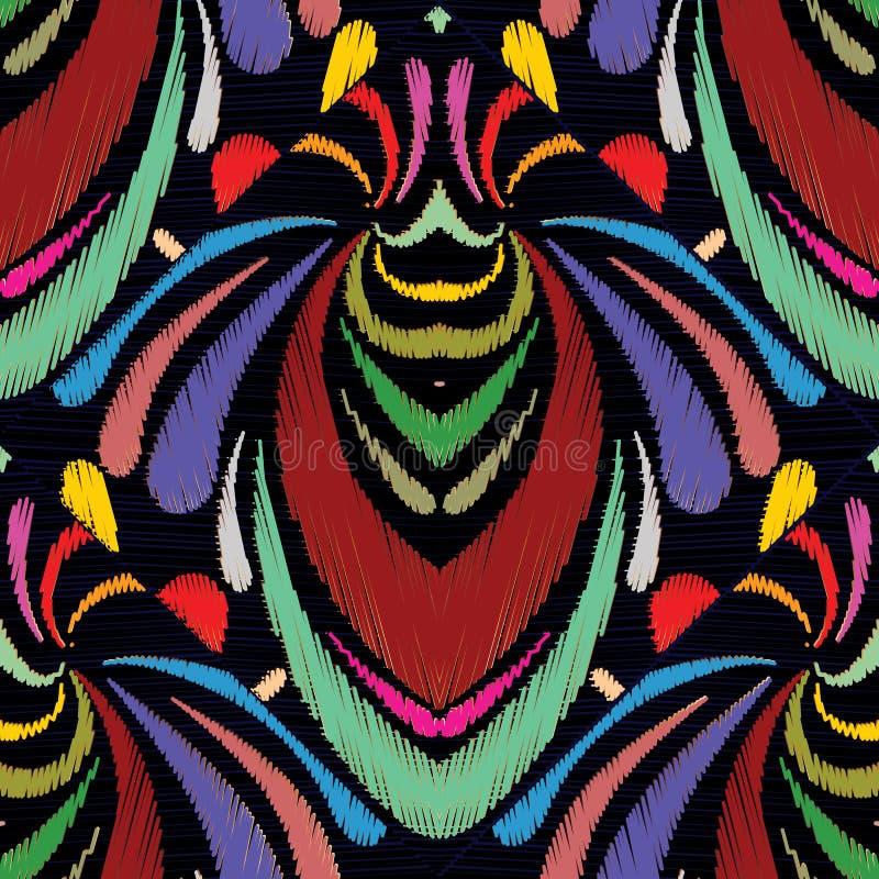 Картина вышивки абстрактной нарисованная рукой безшовная Красочное tapest иллюстрация вектора