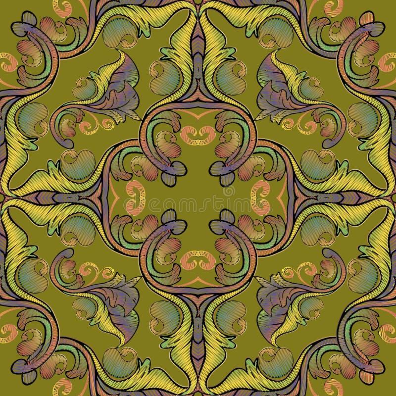 Картина вышивки барочная безшовная Орнамент Пейсли гобелена вектора красочный флористический r Вышитые цветки, листья иллюстрация штока