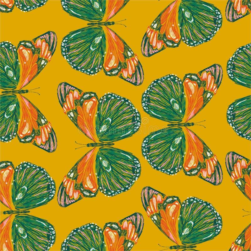 Картина вышивки безшовная настроения красочных бабочек ретро Вектор вышил дизайну для моды нося, ткани, обоев иллюстрация штока