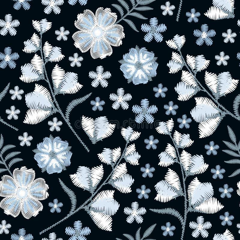 Картина вышивки безшовная с голубыми и белыми цветками Милый флористический орнамент с колокольчиками на черной предпосылке иллюстрация вектора