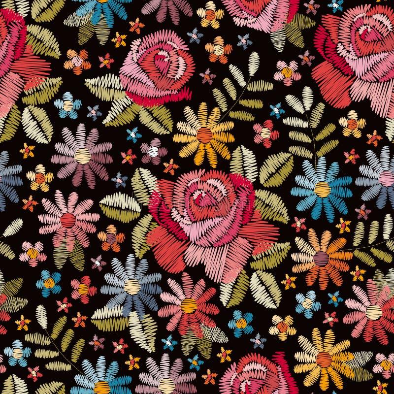 Картина вышивки безшовная с красивыми красочными цветками Флористическая предпосылка в типе год сбора винограда иллюстрация вектора