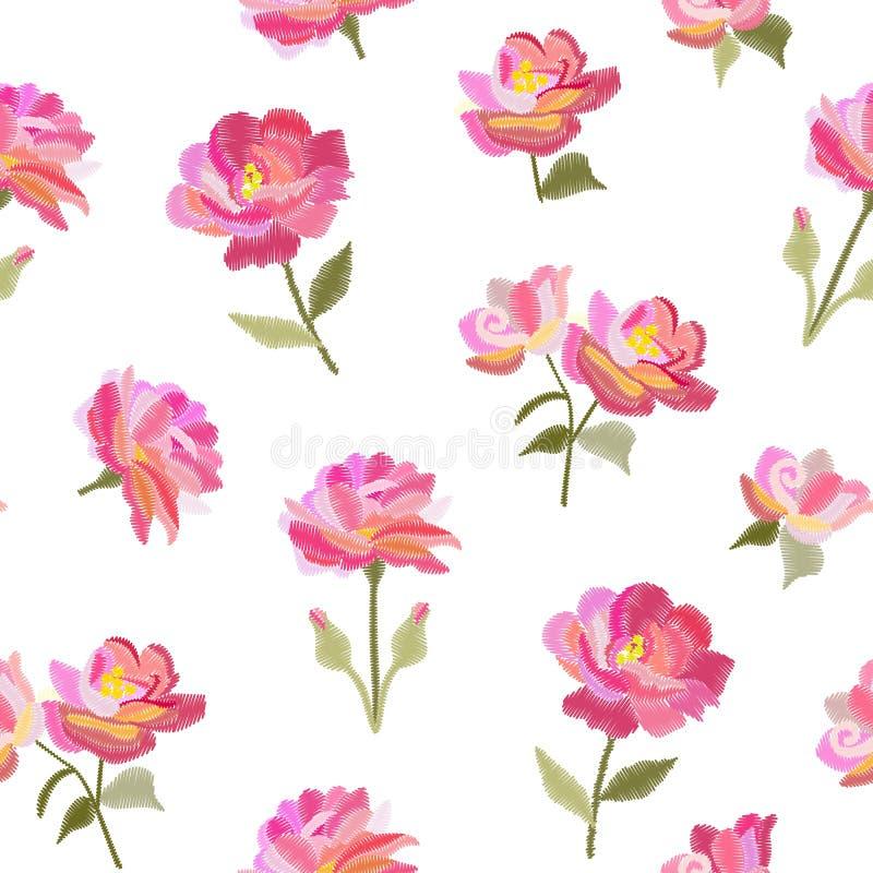 Картина вышивки безшовная с красивыми розовыми розовыми цветками изолированными на белой предпосылке Печать лета Дизайн моды бесплатная иллюстрация