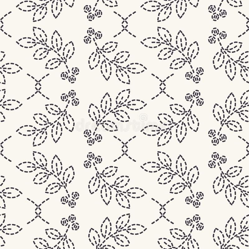 Картина вышивки идущим стежком лист Предпосылка вектора простого needlework безшовная Мозаика руки вычерченная геометрическая фло иллюстрация вектора