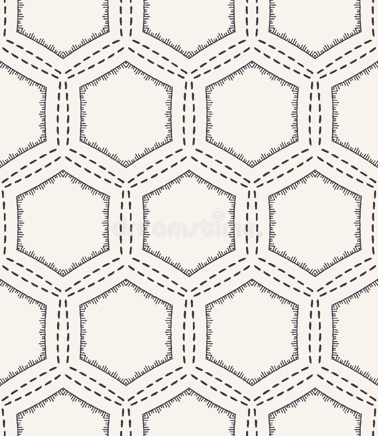Картина вышивки идущим стежком сота Предпосылка вектора викторианского needlework шестиугольника безшовная o иллюстрация вектора