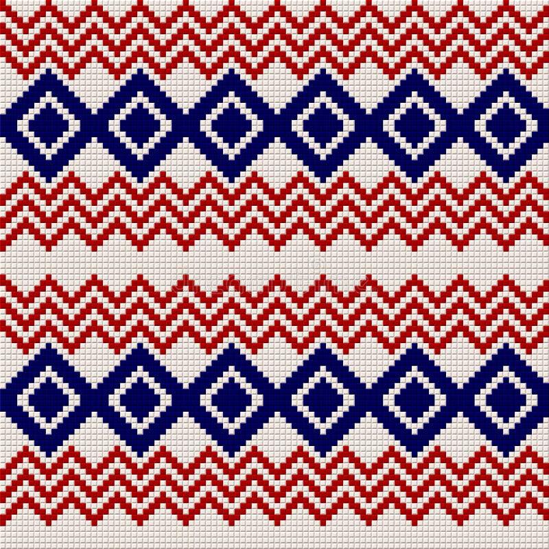 Картина вышивки или knit русская и украинская национальная безшовная иллюстрация штока