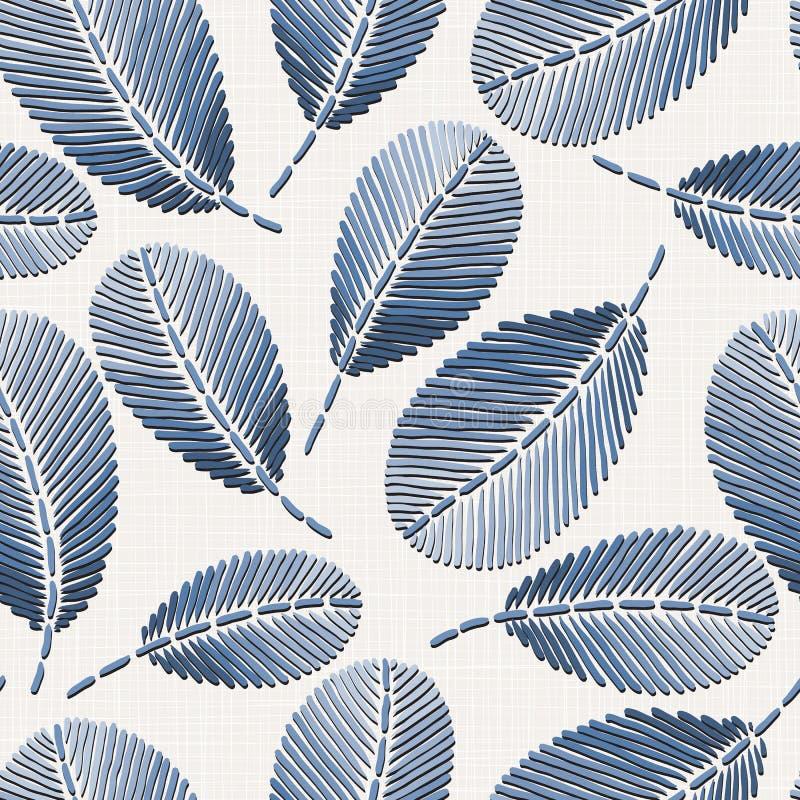 Картина вышивки флористическая безшовная на текстуре linen ткани для ткани, домашнего оформления, моды, ткани шьет имитацию бесплатная иллюстрация