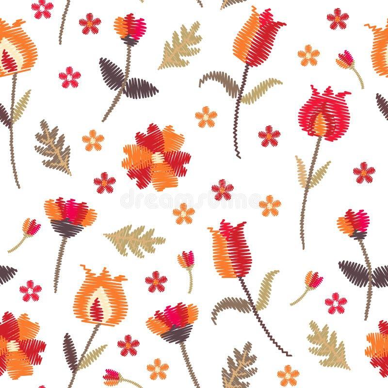 Картина вышивки флористическая безшовная со стилизованными цветками на белой предпосылке Красивая печать с фольклорными мотивами  бесплатная иллюстрация