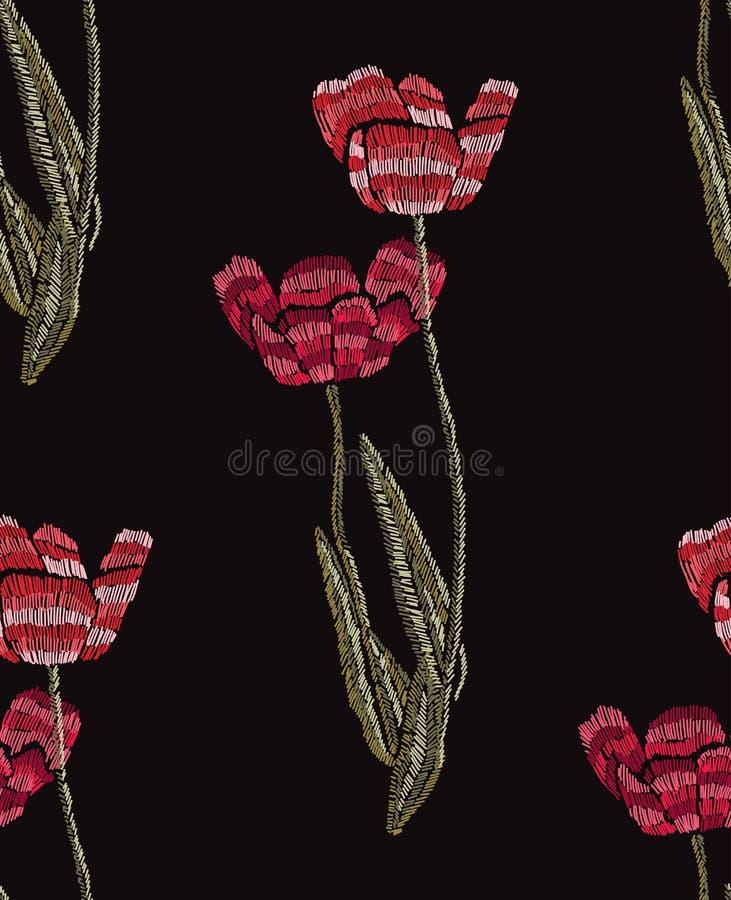 Картина вышивки флористическая безшовная иллюстрация вектора