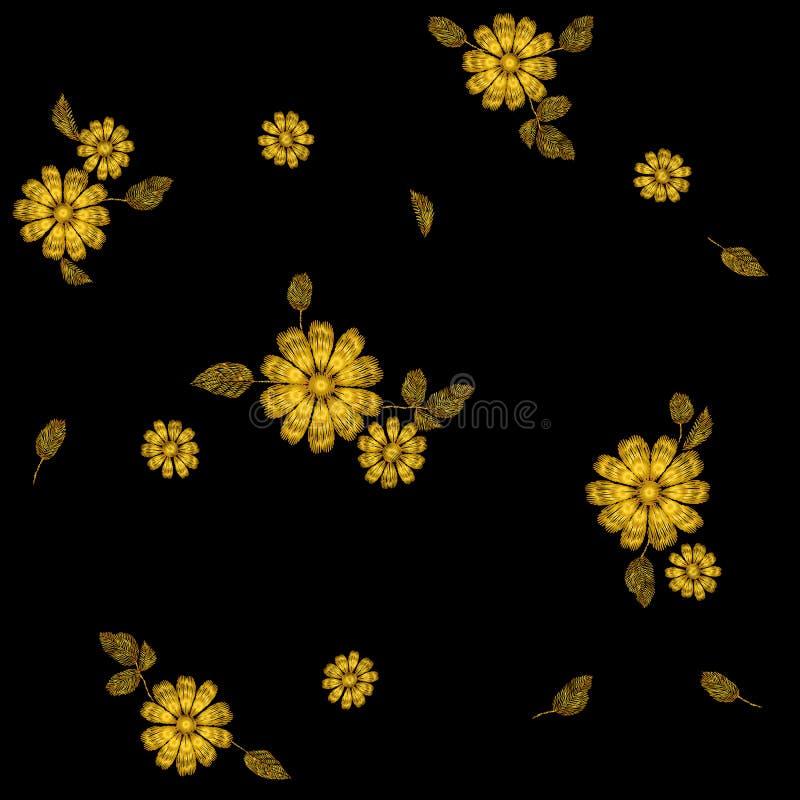 Картина вышивки цветка золота безшовная Шаблон текстуры моды сшитый украшением Этническое традиционное поле маргаритки бесплатная иллюстрация