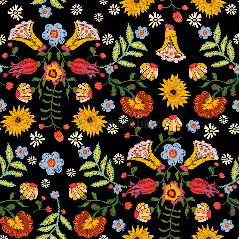 Картина вышивки этническая безшовная с красочными цветками бесплатная иллюстрация