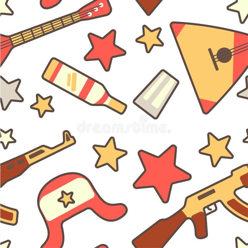 Картина в русском стиле с балалайкой, earflap, автоматом Калашниковаа и водкой украшенными со звездами бесплатная иллюстрация