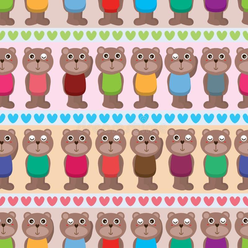 Картина влюбленности влюбленности носа медведя горизонтальная безшовная иллюстрация вектора