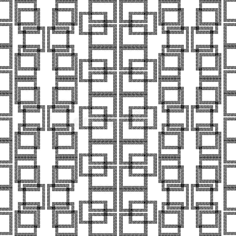 Картина геометрического вектора квадратов безшовная Греческая абстрактная чернота иллюстрация штока