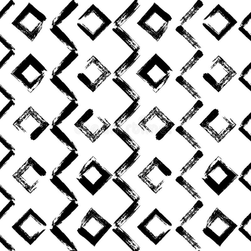 Картина геометрической руки вычерченная безшовная Линии чернил зигзага вектора Предпосылка форм конспекта brushstroke черной крас иллюстрация вектора