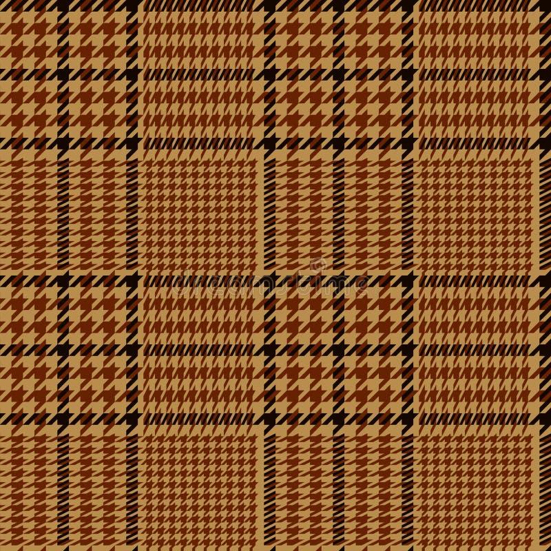 Картина геометрической шотландки Houndstooth безшовная в коричневом и бежевом, вектор иллюстрация штока