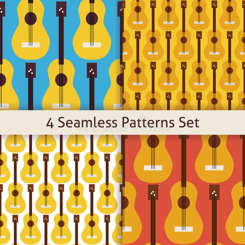 Картина гитары аппаратуры музыки строки 4 векторов плоская безшовная иллюстрация штока