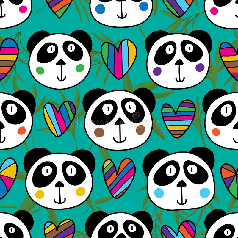 Картина головной влюбленности панды безшовная бесплатная иллюстрация