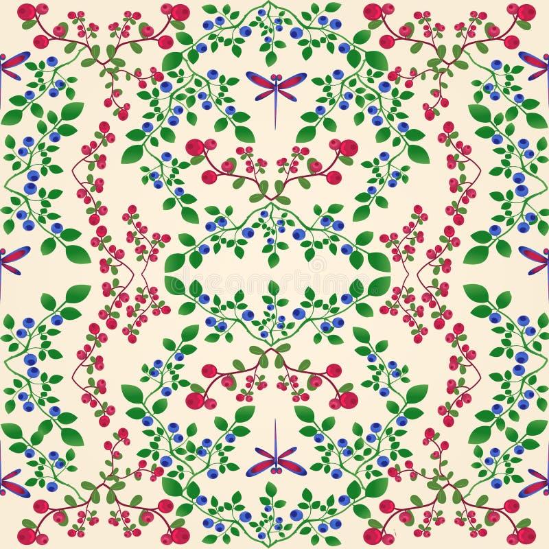 Картина голубики Lingonberry безшовная иллюстрация вектора