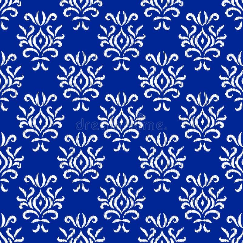 Картина голубого и белого орнамента ikat штофа геометрическая флористическая безшовная, вектор иллюстрация штока