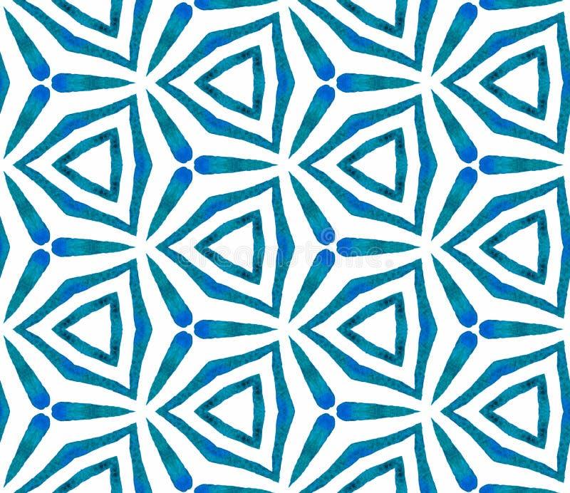 Картина голубого калейдоскопа безшовная Wat руки вычерченное иллюстрация штока