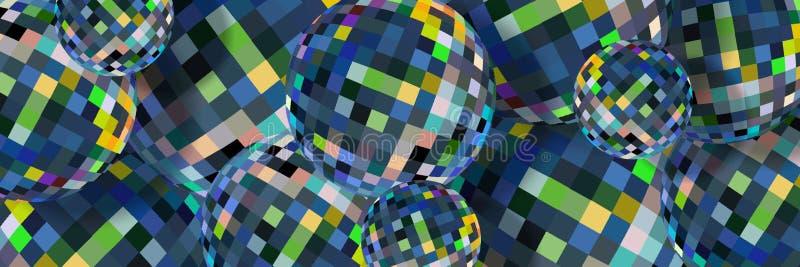 Картина голубых кристаллических сфер абстрактная Творческая предпосылка стеклянных шариков 3d бесплатная иллюстрация
