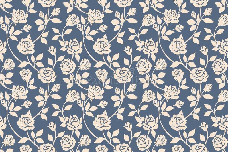 Картина голубых роз флористическая безшовная бесплатная иллюстрация