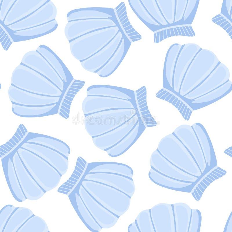 Картина голубых seashells безшовная Обои раковины конспекта морские иллюстрация вектора