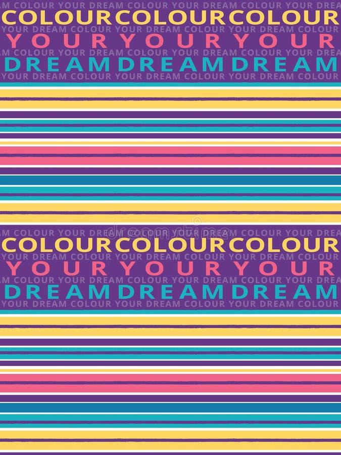 Картина горизонтальной безшовной щетки grunge striped Красочные нашивки с цветом ваша предпосылка мечты текста r иллюстрация штока