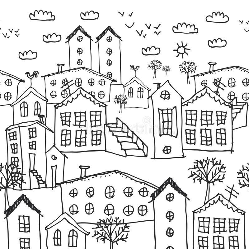 Картина городского ландшафта зимы безшовная эскиз черно-белая нарисованная вручную предпосылка для обоев, заполнений картины, зад иллюстрация штока